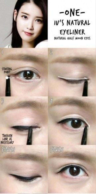 Học hỏi cách kẻ mắt từ nữ ca sĩ IU. Bắt đầu xác định điểm đầu và đuôi mắt, sau đó bắt đầu kẻ đường line móng từ đầu mắt đậm dần về phía đuôi mắt, theo khuôn mắt của bạn chứ không nên đá đuôi mắt lên trên.
