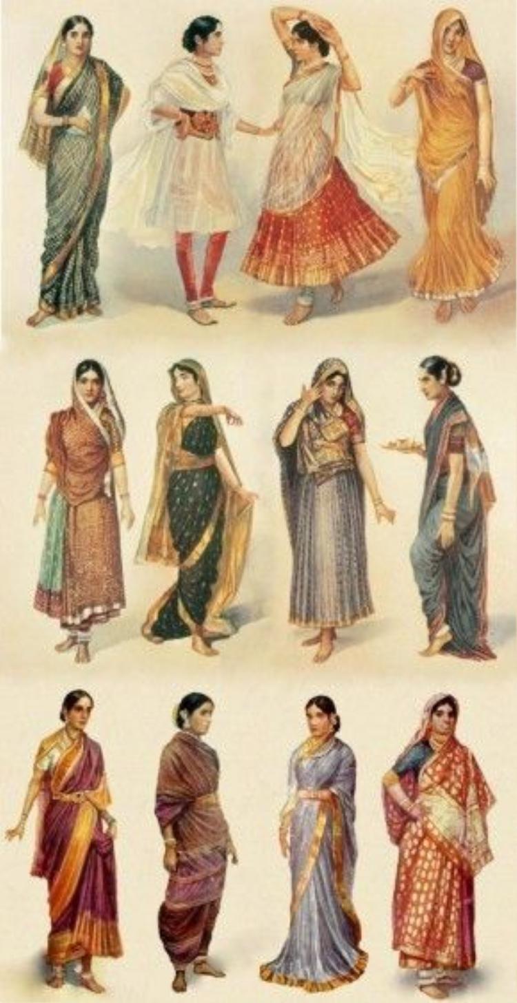Các kiểu trang phục Sari của phụ nữ Ấn Độ qua từng thời kỳ lịch sử.