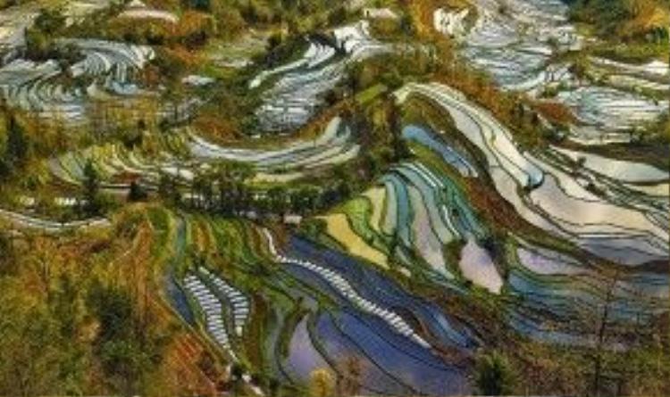 Ruộng bậc thang là cảnh quan ngoạn mục, nơi có các sườn núi dốc của Ai Lao Sơn cao chót vót và vực sâu hiểm trở bên dòng sông Hồng. Nước trên những thửa ruộng không bao giờ đóng băng vào mùa đông nhưng lượng nước chỉ đủ cho một mùa lúa trong năm. Kết thúc mùa gặt, từ giữa tháng 9 đến giữa tháng 11, những bậc ruộng luôn đầy ắp nước cho tới mùa cấy vào tháng 4 năm sau.