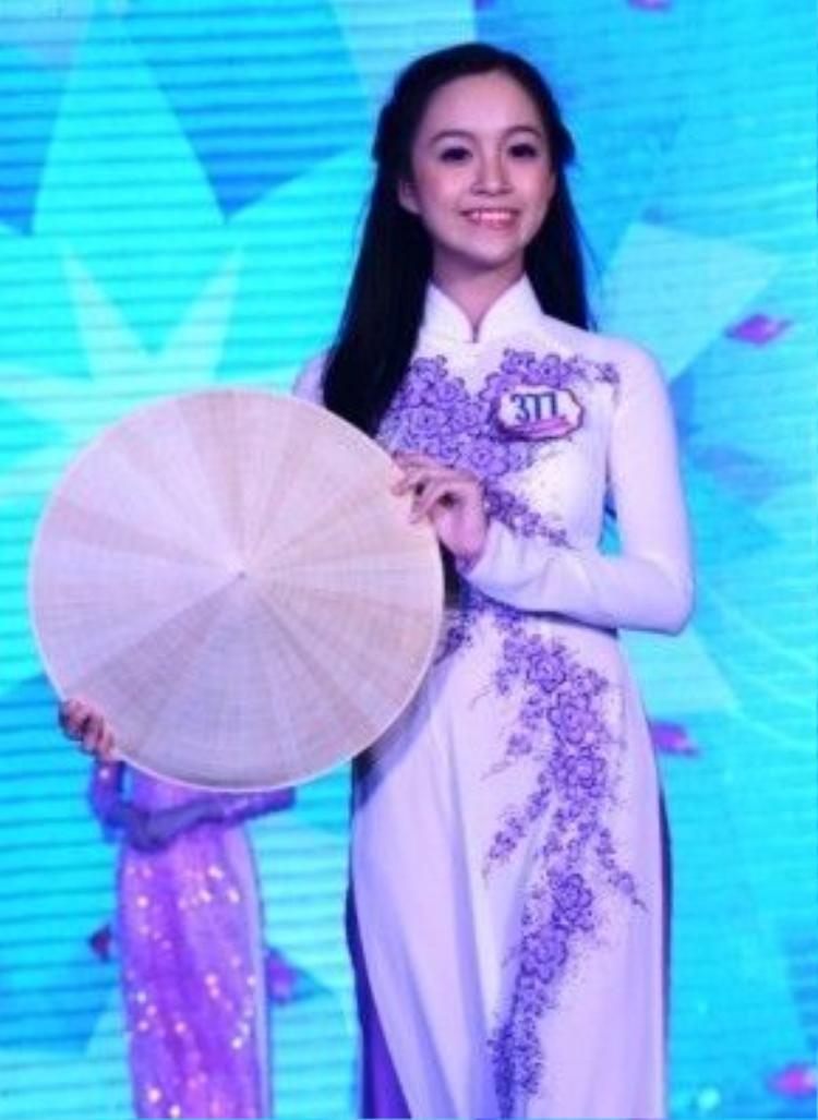Lê Chi rạng rỡ trong cuộc thi Miss Áo Dài 2014.