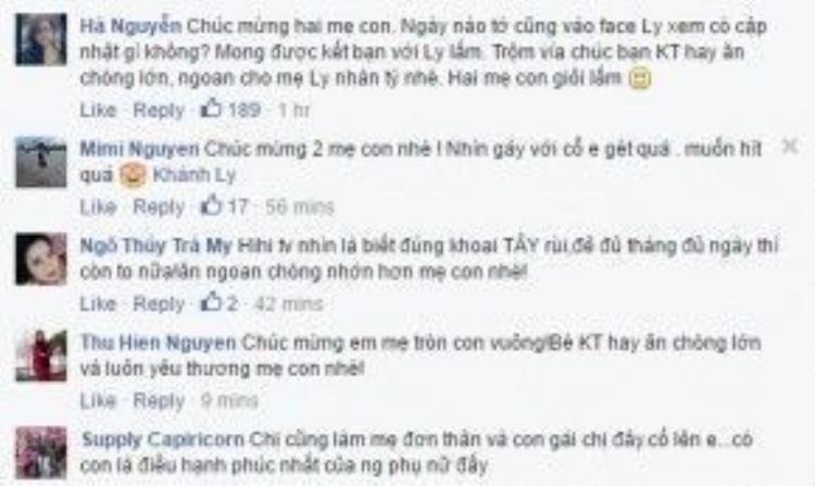 Một số comment chúc mừng cho mẹ Khánh Ly và bé Khoai Tây.