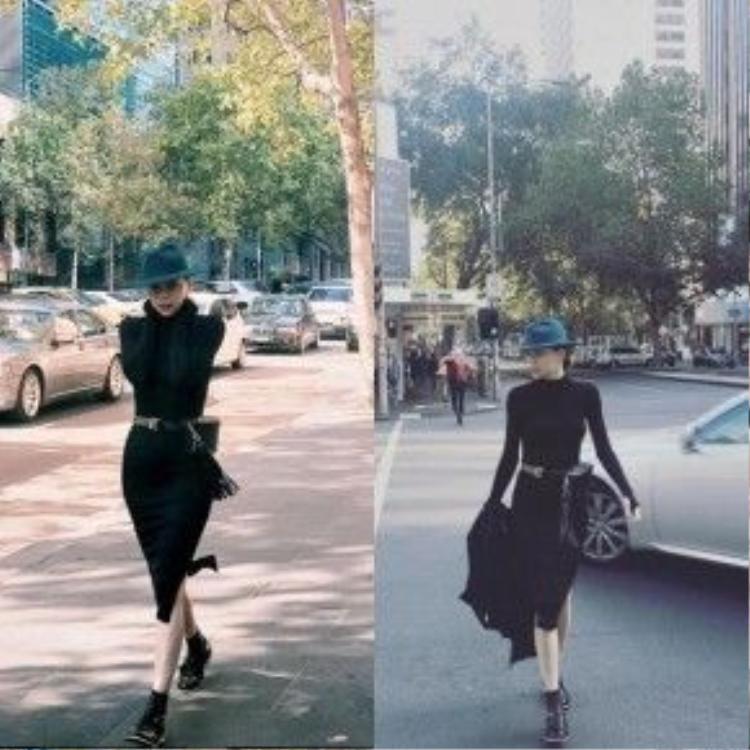 """Hồ Ngọc Hà liên tục diện trang phục đen từ tuần trước đến nay khi đi du lịch tại Úc. Điểm chung của tất cả những streetstyle """"all-black"""" này là sự kết hợp giữa những chiếc váy gợi cảm, bay bổng cùng những đôi giày năng động. Đây quả là một sự kết hợp high-low đáng học hỏi."""
