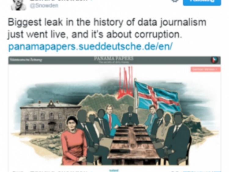 Chia sẻ của một nhà báo trên mạng xã hội về vụ rò rỉ loạt tài liệu về tham nhũng và rửa tiền lớn nhất lịch sử. Ảnh: USA Today.