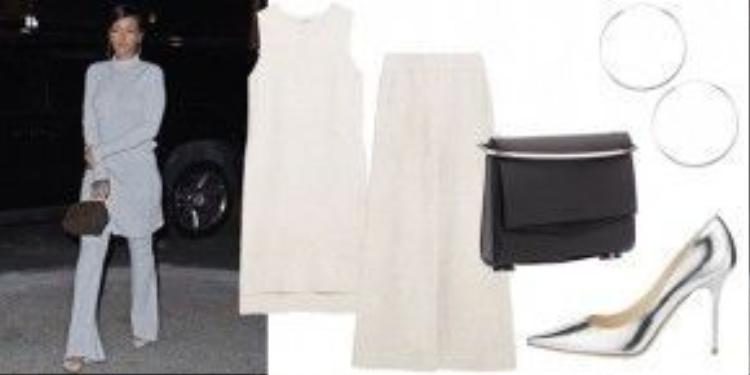 Phong cách monochrome với Áo ghile Zara 60 USD (1,3 triệu) Quần Zara Palazzo 70 USD (1,6 triệu) Túi Eddie Borgo Small 990 USD (22,7 triệu) Giày Jimmy Choo 675 USD (15,5 triệu) Vòng tay Hoop Earrings 34 USD ( 800 ngàn đồng)