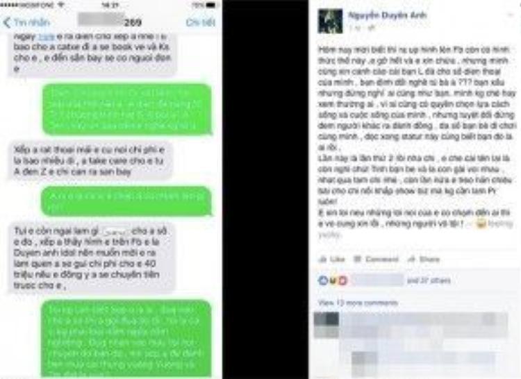 Duyên Anh Idol bức xúc công khai tin nhắn gạ đi khách.