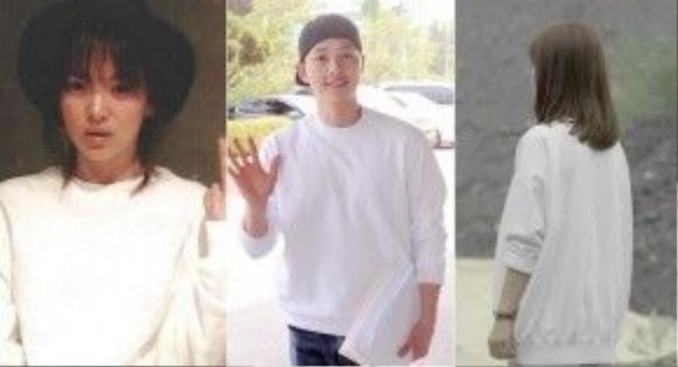 """Ngoài chiếc sweatshirt màu ghi ở trên, Song - Song dường như còn mặc chung một chiếc sweatshirt trắng. Song Joong Ki từng diện nó trong buổi đọc kịch bản """"Hậu Duệ Mặt Trời"""" hồi năm ngoái còn Song Hye Kyo đã """"mặc lại"""" nó trong phim và cả ngoài đời."""