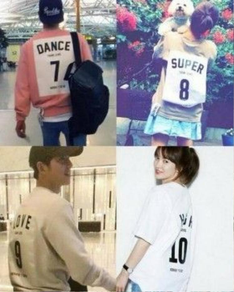 Và cả hai còn cùng là fan của kiểu áo in slogan kèm số sau lưng độc đáo.