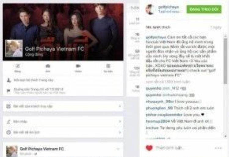 Anh chàng Man (Golf Pichaya) dễ thương đã đăng hình ảnh fanpage của mình và viết hẳn một đoạn dài để cảm ơn.