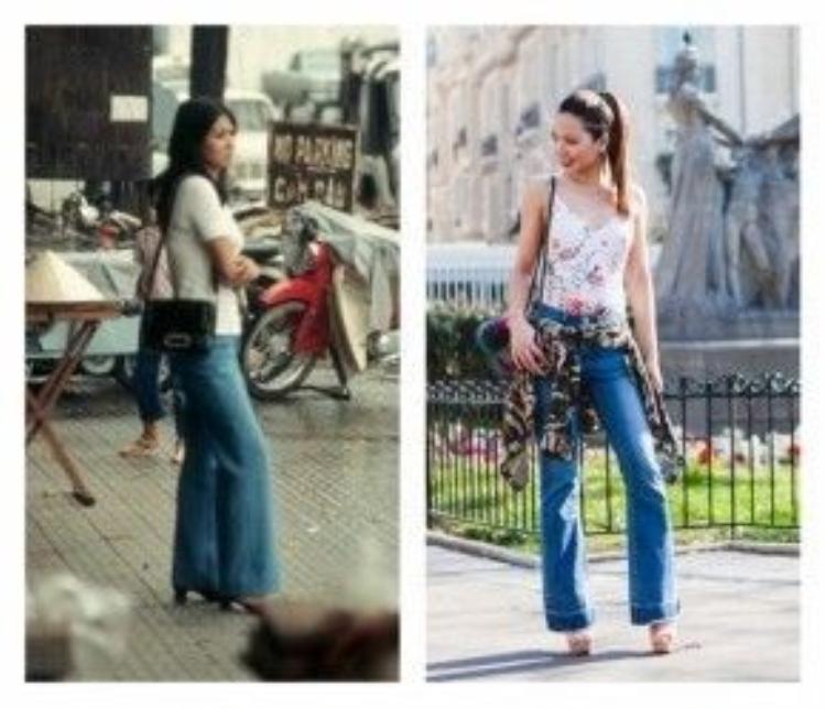"""Cùng với trào lưu boho-chic đang ồ ạt đổ bộ, chiếc quần jean ống loe bắt đầu nhen nhóm trở lại trong mùa Xuân-Hè năm nay. Giờ đây, chiếc quần """"sến sẩm"""" của mẹ ngày nào đã trở thành hot-item trong tủ quần áo của bạn."""