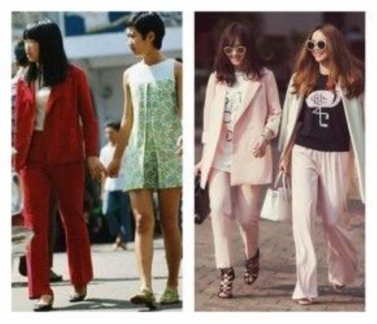 Phụ nữ Sài Gòn xưa bắt đầu mặc pant-suit như 1 cách để thể hiện nữ quyền cũng như tăng độ lịch sự cho trang phục công sở. Chưa năm nào những sàn diễn thời trang thiếu đi hình dáng của những bộ pant-suit hay le smoking được cải tiến về form dáng cũng như chất liệu, màu sắc.