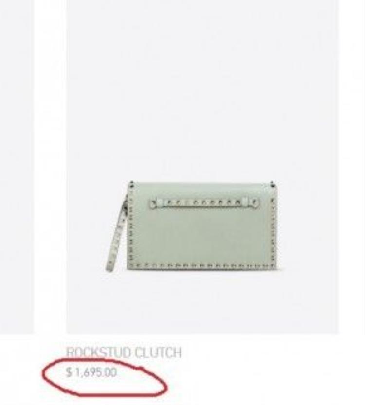 chiếc túi hàng hiệu của Hà Hồ, thiết kế đơn giản nhưng tinh tế của nhà mốt Valentino được bán với giá 1.695 USD