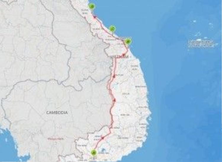 Bản đồ các tỉnh trong chuyến đi.
