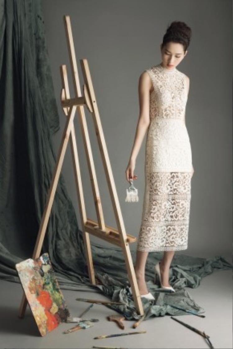 Đặng Thu Thảo đầy chất thơ trong chiếc váy ren trắng.