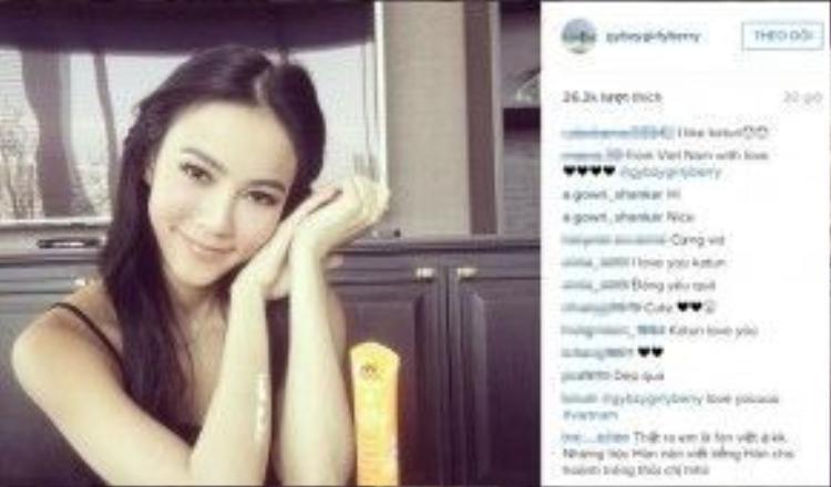 """Trước đó, cư dân mạng Việt đã """"đổ bộ"""" Instagram của cô nàng xinh đẹp này và để lại những bình luận khen ngợi."""