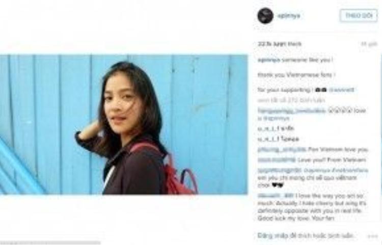 Cô nàng Lee dù bị ghét cay ghét đắng trong phim, thì ngoài đời, Lee vẫn nhận được nhiều sự yêu mến của fans Việt. Cô cũng nhanh chóng bày tỏ lòng biết ơn này trên Instagram của mình.