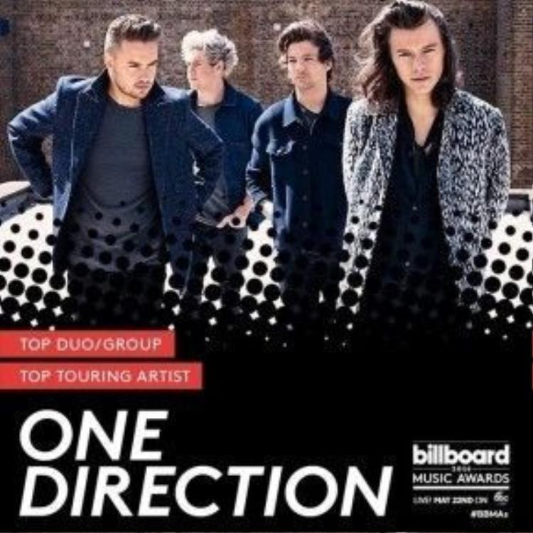 Boygroup đình đám đã tan rã One Direction cũng chưa hề rời xa các giải thưởng khi giành được 2 suất tại Top Duo/Group và Top Touring Artist.