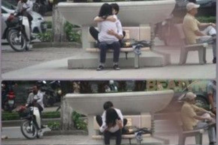 Cặp đôi vô tư ôm hôn ở nơi công cộng - (Ảnh: beatvn)