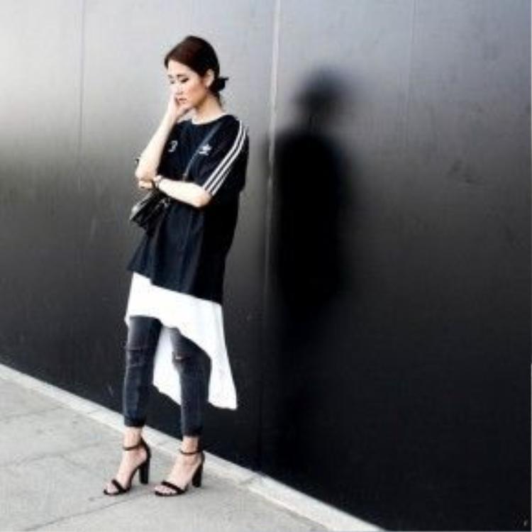 Fashion blogger Julia Doan với street style mang âm hưởng sporty-chic vừa khoẻ khoắn, vừa nữ tính.