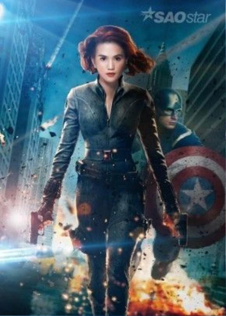 Bộ trang phục bó sát của Black Widow đã tôn lên ba vòng hoàn mỹ của Ngọc Trinh.