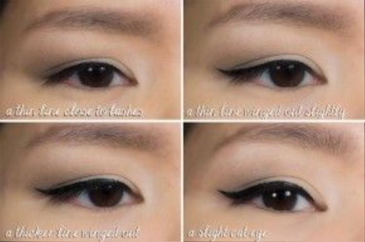 Dưới đây là mắt đã được kẻ qua dòng sản phẩm kẻ mắt của Shu Uemura.