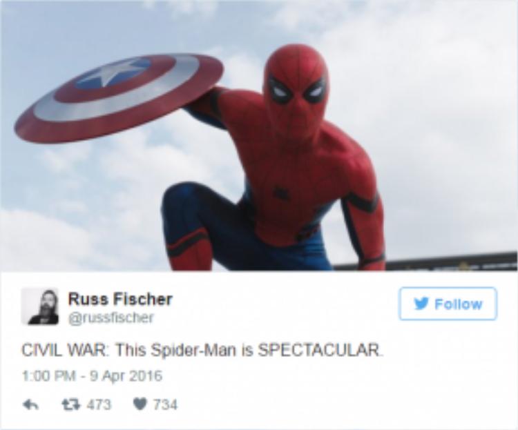 Đa phần đều phấn khích trước sự xuất hiện của Spider-man.