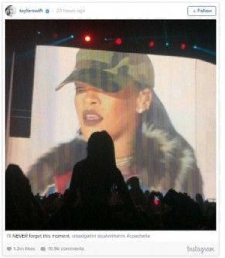 Taylor Swift đăng tải video clip dành sự ngưỡng mộ cho Rihanna và người bạn trai của mình.