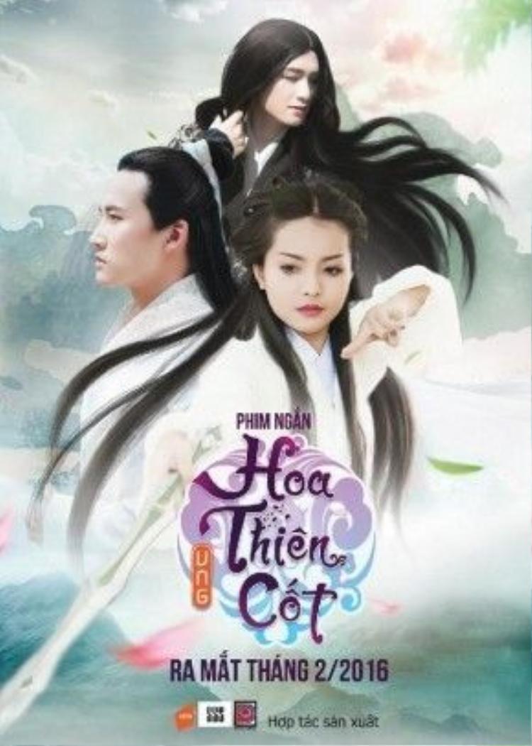 Poster Hoa Thiên Cốt phiên bản Việt với ba diễn viên chính.