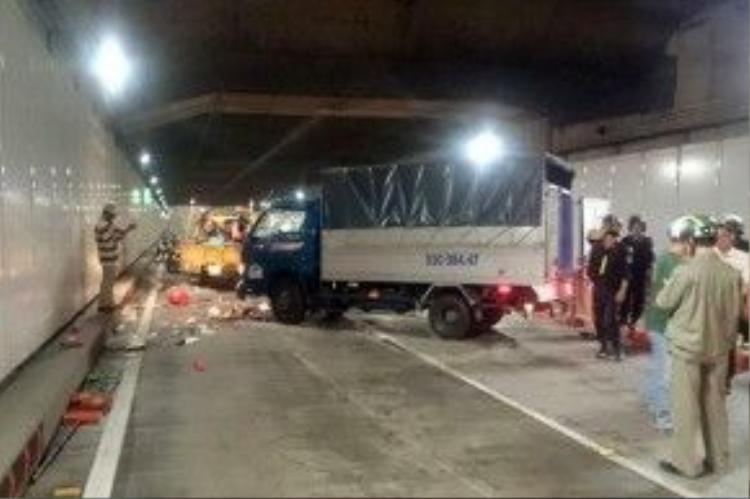 Hiện trường vụ tai nạn ở hầm Thủ Thiêm.