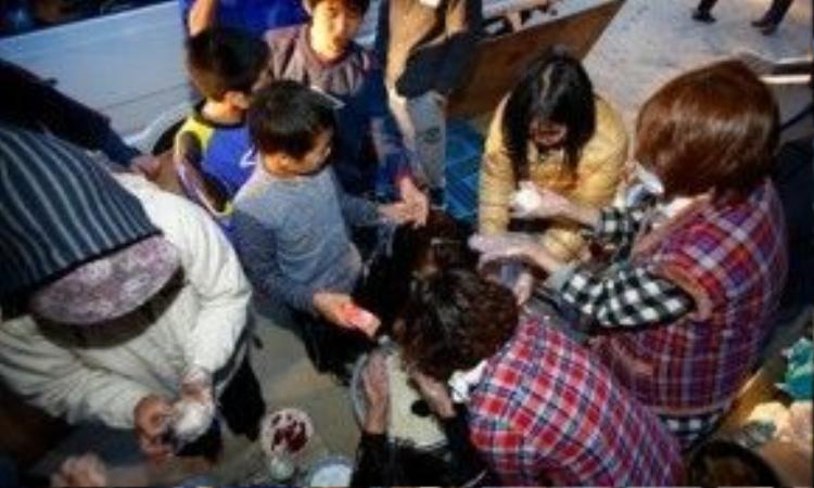Người dân ăn cơm nắm tại công viên ở Ozu. Ảnh: AP