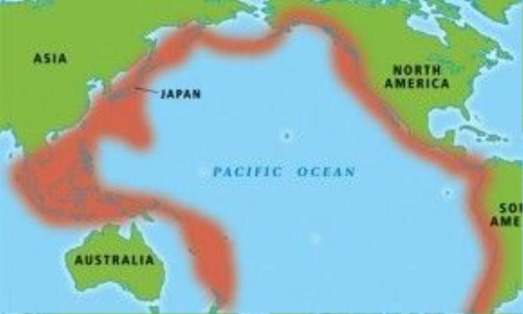 Vành đai lửa Thái Bình Dương, nơi xảy ra hầu hết các trận động đất lớn trên thế giới.
