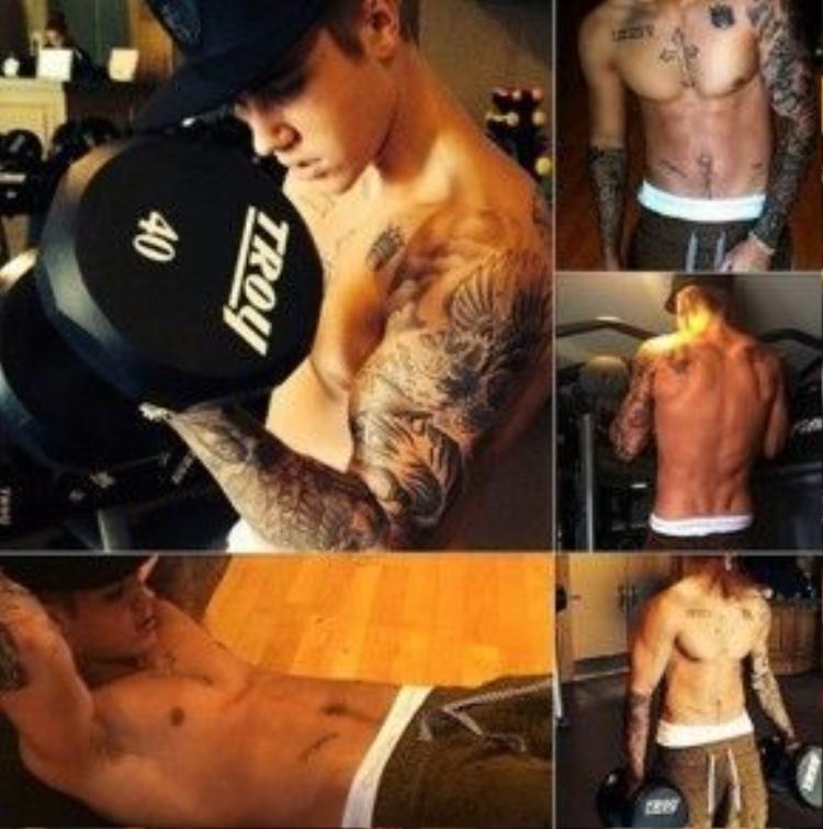 Justin Bieber chăm chỉ tập luyện năm 2015