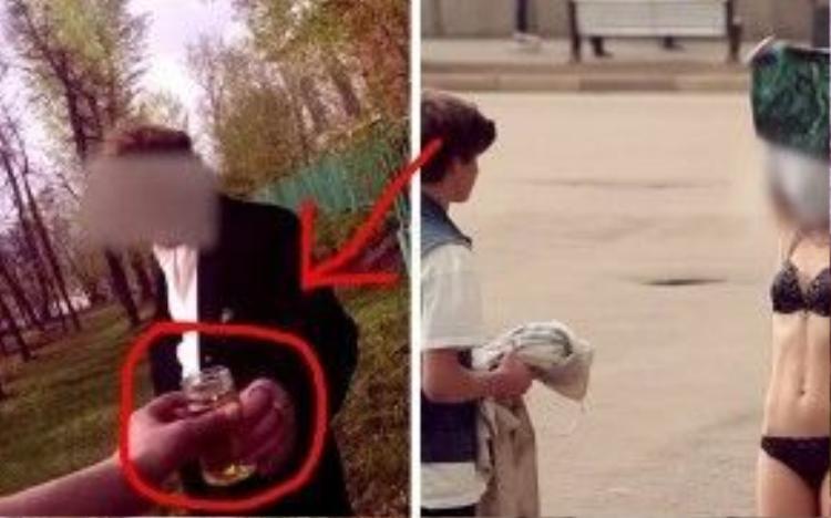 Clip ghi lại cảnh 1 người đồng ý uống nước tiểu của cậu, ảnh khác một cô gái đồng ý bán đồ lót cho cậu ngay tại nơi công cộng.