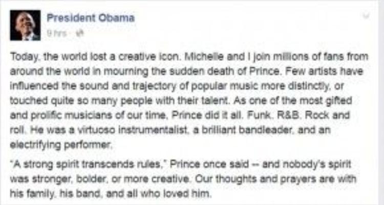 Tổng thống Obama đăng tải dòng status đầy tâm trạng trênt rang Facebook.