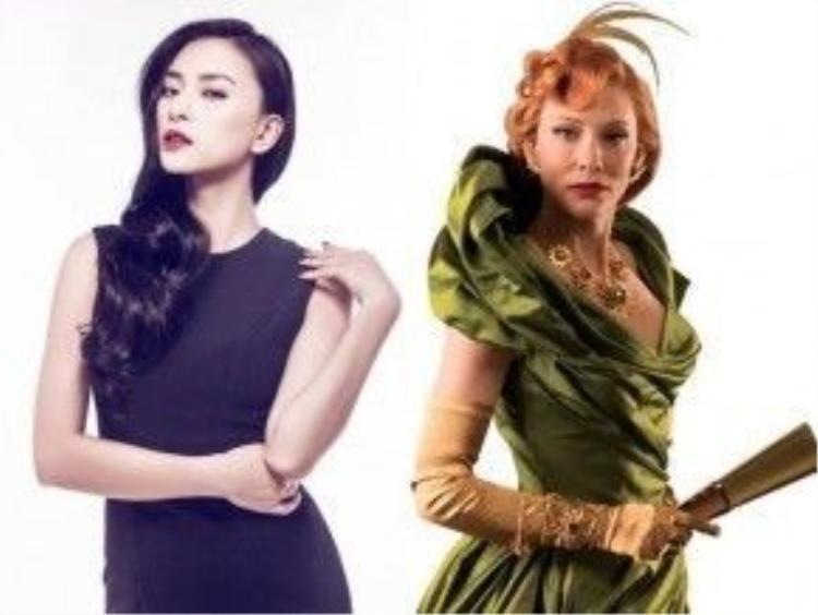 Ngô Thanh Vân sẽ vào vai mẹ ghẻ. Phía bên phải là quý bà Tremaine do Cate Blanchett thủ vai trong bộ phim điện ảnh Cinderella cách đây một năm.