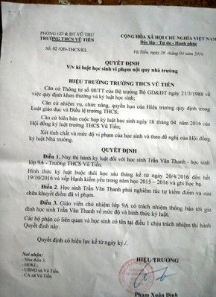Quyết định buộc thôi học 6 tháng dành cho học sinh Trần Văn Thanh.