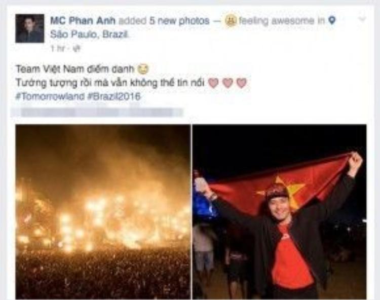 MC Phan Anh chia sẻ cảm xúc khi đi xemTomorrowland 2016.