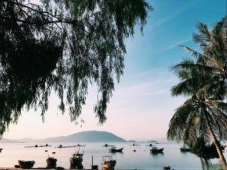 Nước biển Điệp Sơn thì xanh ngắt như trời.