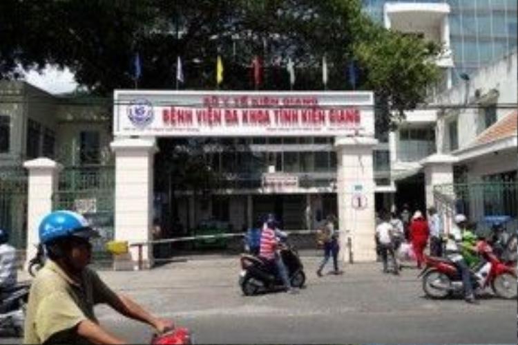 BVĐK tỉnh Kiên Giang- nơi xảy ra vụ hỗn chiến giữa người thân của 2 bệnh nhân.