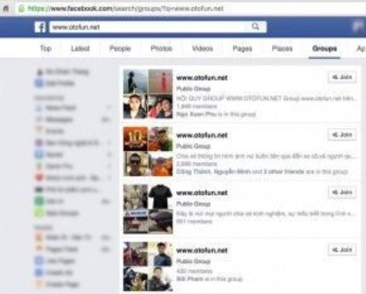 Khi tìm kiếm chi tiết group www.otofun.net trên Facebook, người dùng không còn thấy group chính thức của diễn đàn Otofun trước đây với gần 200.000 thành viên.