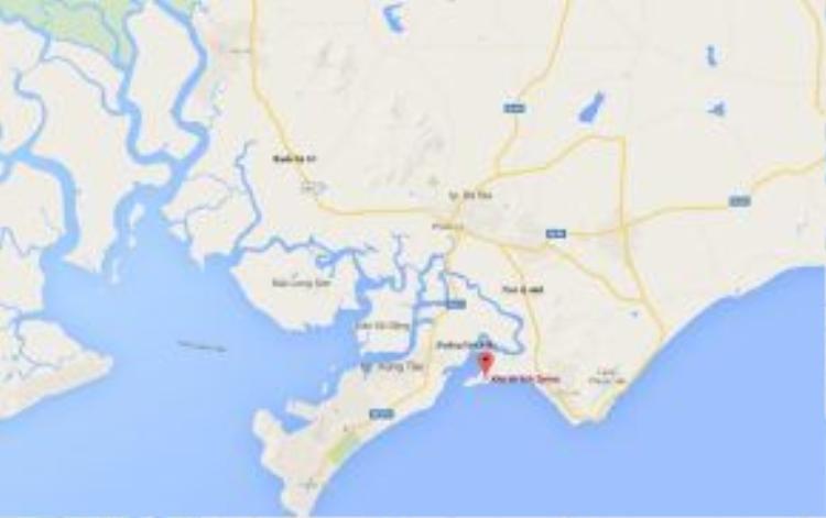 """Chỉ cách TP HCM khoảng 120km, Long Hải như một """"nàng tiên ngủ quên"""" trước sự sôi động của điểm du lịch biển kề cận - TP Vũng Tàu. Ảnh: Google Map."""