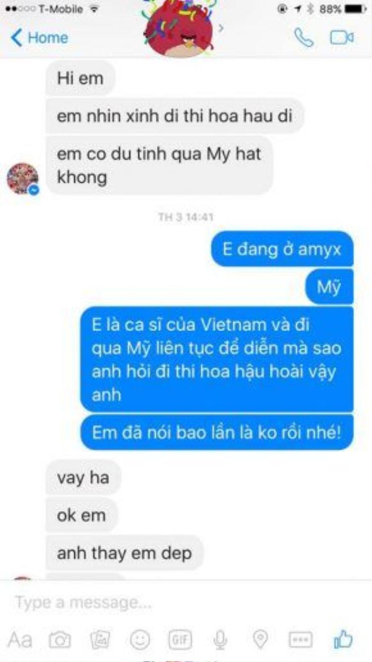 Người lạ mặt nhắn tin gạ gẫm Pha Lê đi thi Hoa hậu.