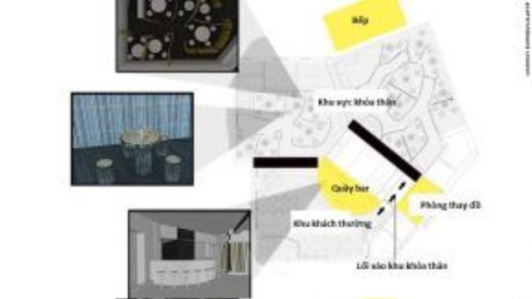 Nhà hàng tạm thời này có hai khu vực: một khu dành cho thực khách thường, một khu dành cho những người muốn trút bỏ xiêm y trong lúc dùng bữa.