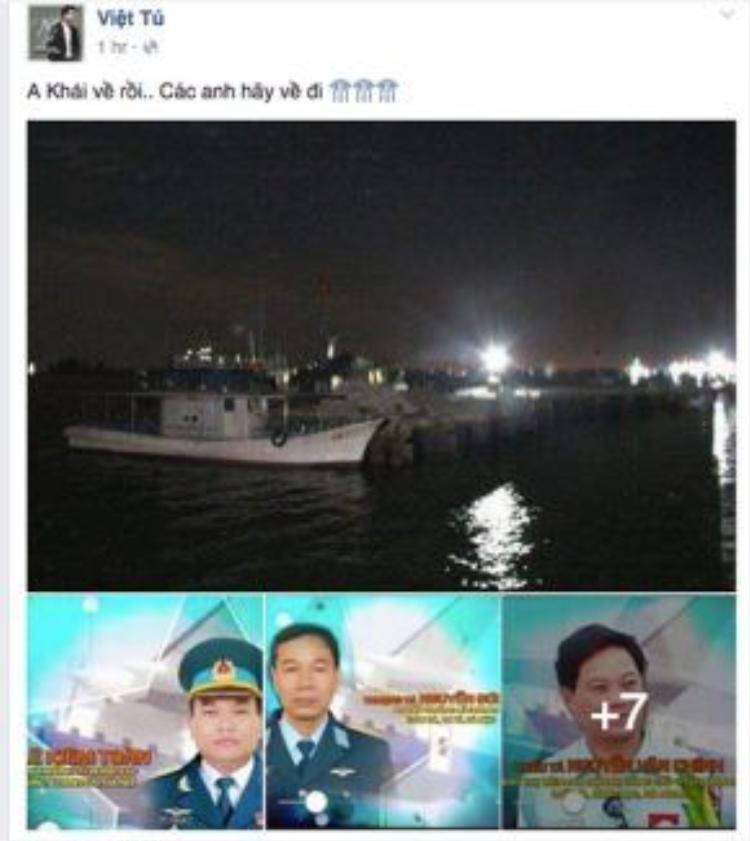 Ca sĩ Việt Tú cũng mong ngóng 9 sĩ quan, quân nhân của máy bay Casa-212 sớm trở về với gia đình, đồng đội!