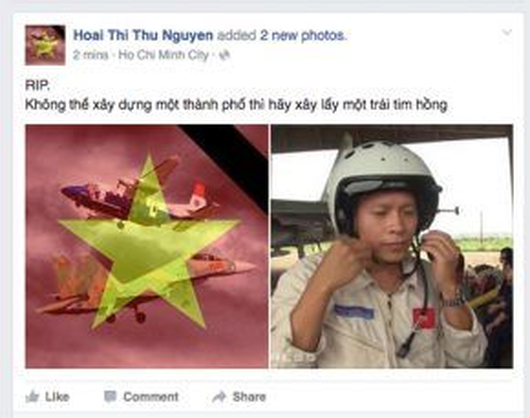 Hoa hậu Thu Hoài cũng bày tỏ sự tiếc thương với sự cố của hai máy bay Su-30MK2 và Casa-212.