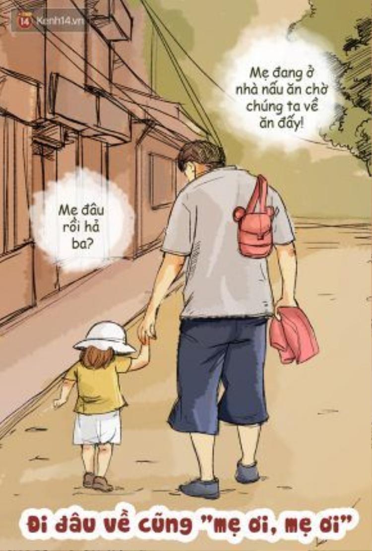 """Thật đấy, về nhà có trông thấy bố thì cũng hỏi luôn """"mẹ đâu bố ơi"""", mà không trông thấy ai thì chắc chắn sẽ """"mẹ ơi, mẹ ơi"""", hiếm khi nghĩ tới bố lắm…"""