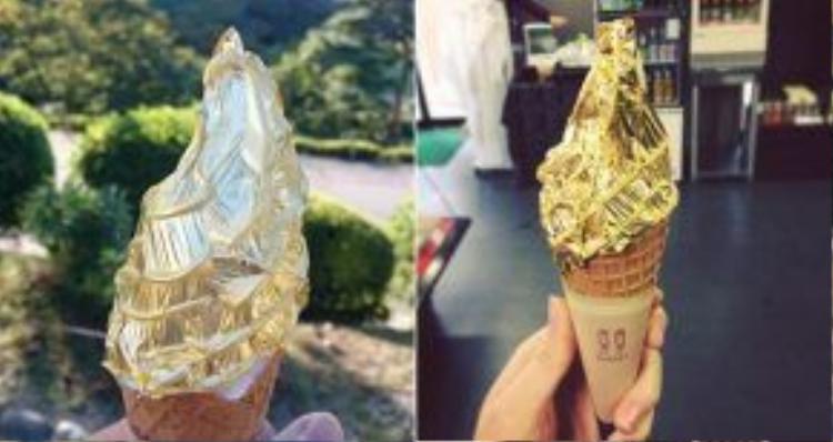 Tất nhiên, vàng không có mùi vị gì rõ rệt. Lá vàng mỏng tới mức tan ngay khi vừa chạm vào lưỡi. Trong văn hóa Nhật Bản, vàng được cho là có tác dụng giúp thực khách trẻ lâu và trường thọ. Ảnh: Firstwefeast.