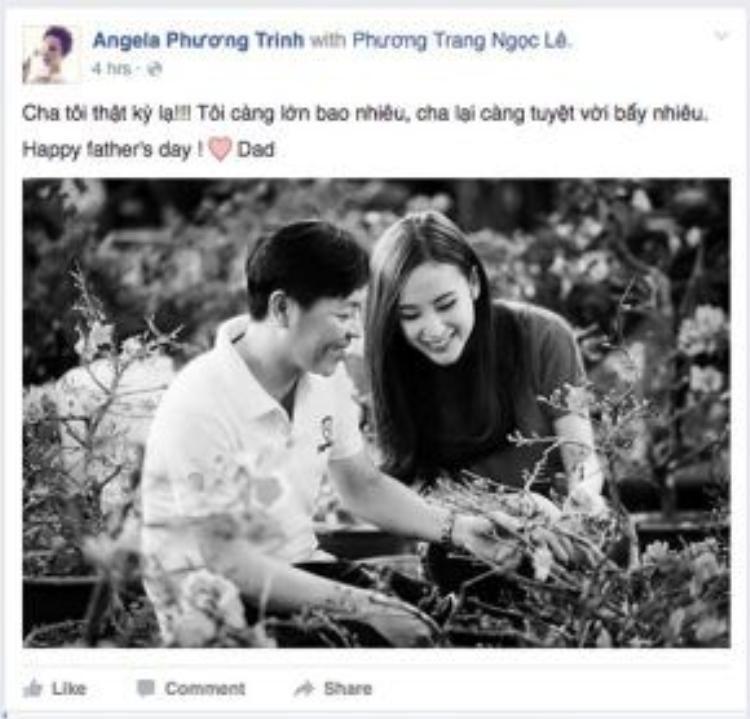 """Angela Phương Trinh không quên chia sẻ tình cảm dành cho """"người đàn ông lớn nhất"""" cuộc đời mình trong Ngày của cha."""