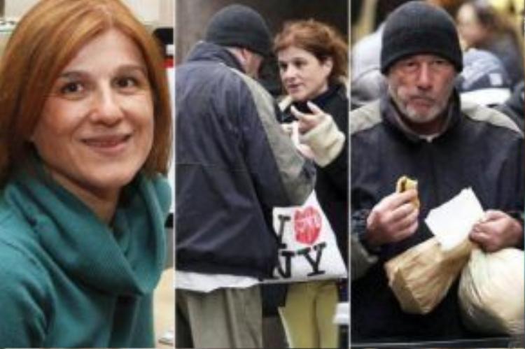 Karine Gombeau và diễn viên nổi tiếng Gere đứng chung trong một khuôn hình được chụp lại và đăng trên báo.