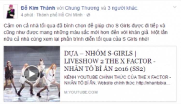 Thành viên nhóm S Girls cũng không quên thể hiện niềm vui được bước vào vòng trong và gửi lời cám ơn đến khán giả.