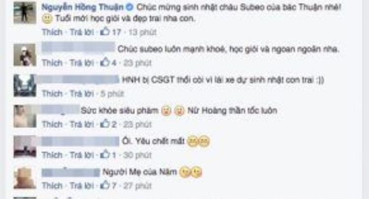 """Nhạc sĩ Nguyễn Hồng Thuận không quên chúc mừng sinh nhật Subeo: """"Chúc Subeo của bác Thuận tuổi mới học giỏi và đẹp trai""""."""